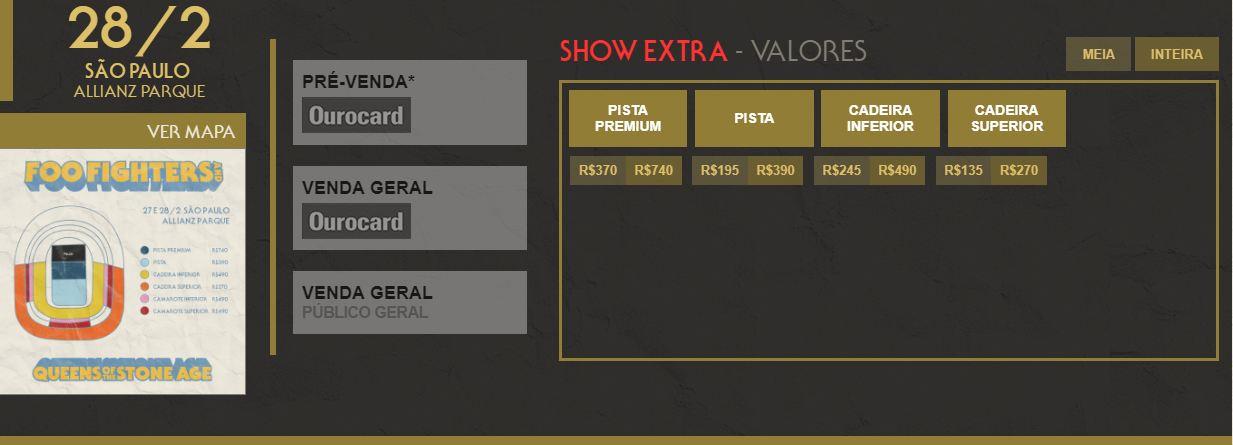 show extra do Foo Fighters e Queens Of The Stone Age valores de ingressos